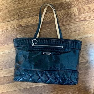 COACH POPPY Quilted Liquid Gloss East-West Tote